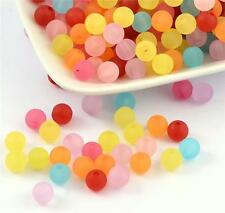 TOP QUALITY 6mm 8mm 10mm ACRYLIC FROSTED BEADS MIXED COLOURS ACR 31,32,33