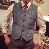 Mens British Wool Blend Herringbone Tweed Waistcoat Vest Slim Gilet Plus Sz