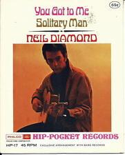 "Vintage 1968 NEIL DIAMOND Hip Pocket Record 4"" SEALED You Got To Me/Solitary Man"