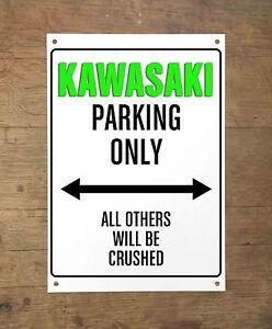 KAWASAKI PARKING ONLY Targa cartello metallo moto metal sign motorbike