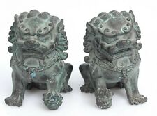 Couple of Antique Old Asian Foo dog figurines Beijing Lions Chinese Feng Shui