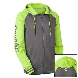 dodge cummins hoodie sweatshirt full zip fleece hooded jacket green gray Medium