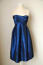 LAZARO Metallic Blue Strapless Empire Waist Tafetta Cocktail Dress Size 2