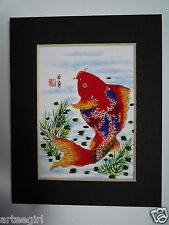 4x5 Colorful Koi Fish Carp 2 good luck - Chinese Brush Painting Art