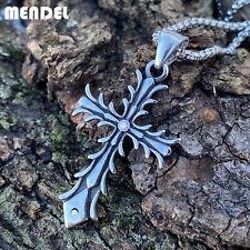 MENDEL Small Mens Womens Stainless Steel CZ Cross Pendant Necklace For Men Women
