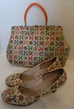 Vintage 60s Town & Country Fabric Shoes & Matching Purse Set Size 8
