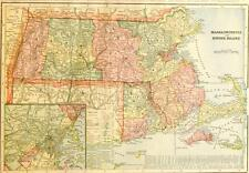 Original 1899 Massachusetts/Rhode Island Large Color Map/11x14/Boston inset