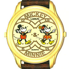 Dual Time Mickey And Minnie Mouse Gold Tone, Easy Read, Lorus Watch! Unworn $169