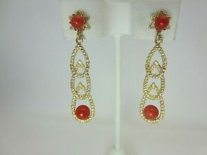 14k Yellow Gold and Mediterranean Coral Bead Earrings Long Dangle