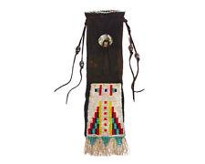 Great Lakes Region Native American Brown Cowhide Beaded Pipe Bag
