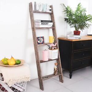 4.5 Ft Wood Decorative Blanket Towel Ladder Rack Farmhouse Rustic Storage Shelf