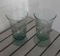 SET OF 2 VINTAGE OLD FASHIONED SODA SUNDAE PARFAIT GREEN  GLASSES LARGE EMBOSSED