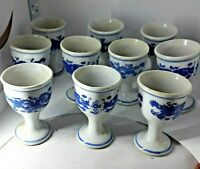 ANTIQUE CHINESE BLUE ON WHITE DRAGONS 10 PORCELAIN EGG CUPS
