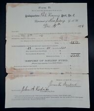 New listing GAR Grand Army Of The Republic 1876 New Jersey GAR Financial Report Historic