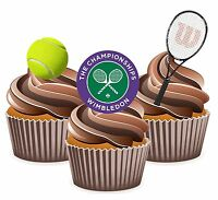 PRECUT Tennis Wimbledon Themed 12 Edible Cupcake Toppers Decorations Birthday