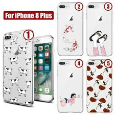 For iPhone 8 Plus Case TPU Frame Transparent Bumper Protective Cover Fashion