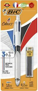 BIC 4 Couleurs 3+1 HB Stylo-Bille et Porte-Mines Blister de 1 + 12 Mines 0,7 m