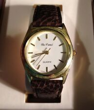 Men's Da Vinci Brand Gold Tone Quartz Watch With Brown Genuine Leather Band