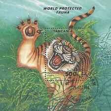 Timbre Animaux Félins Tigres Tanzanie BF247 o lot 17824