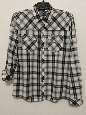 H&M Divided Womens Top L Gray/Black Plaid Light Weight Shirt Long or 3/4 Sleeve
