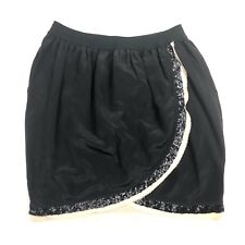 Wilfred Silk Tulip Skirt size S Black Tan Sequin Slit Mini Aritzia Faux Wrap