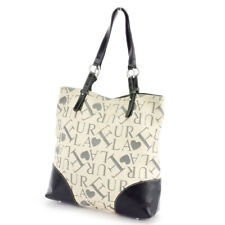 FURLA Tote Bag Logo x Heart pattern Beige Canvas x Leather Auth used  D2060