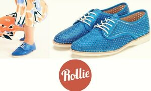 Rollie Nation Shoes comfort leather Derby casual Rollie Derby Punch Blue Shimmer