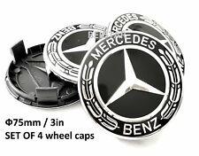MERCEDES BENZ WHEEL CENTER CAPS BLACK WREATH RIM HUBCAPS EMBLEM 4PCS 75mm