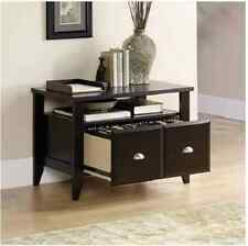 Wood File Cabinet 2 Drawer Brown Home Office Filing Storage Lateral Stand Print
