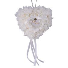 Wedding Ceremony White Satin Crystal Flower Ring Bearer Box Pillow Cushion ge