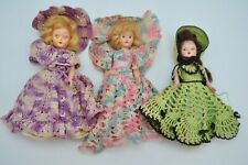 Vintage Baby Doll Rolling Eyes Girl Open Closed Crochet Dress Lot Articulated