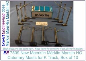 EE 7509 NEW Catenary Masts of Later Style for K Track Box of 10 Masts and Bases