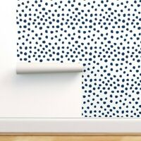 Wallpaper Roll Polka Dot Blue Spots Abstract Navy On White 24in x 27ft