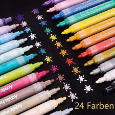 Acrylstifte Marker 24 Farben Set permanent wasserfest Acyrlic Painter Geschenk
