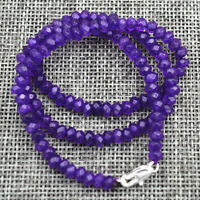 GENUINE NATURAL 2x4mm Purple Amethyst Faceted Gems Beads Necklace 18'' AAA