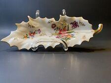 Vintage Kalk Germany Porcelain Leaf Trinket Dish White Floral Print Gold Trim