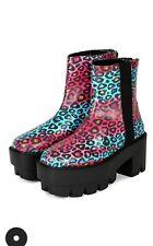 Women's Bumper Rave-01A PU Blue/Fuchsia Leopard Print  Platform Lug Heel Bootie
