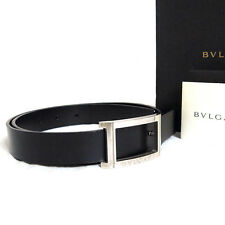 """Auth BVLGARI Silvertone Buckle Black Leather Belt 72cm/28.3"""" Made Italy in Box"""