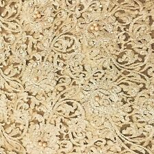 Gold Beaded Net/lace Fabric