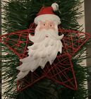 Vintage Christmas Wired Star Red Ornament W/ Santa Claus On The Front Handmade