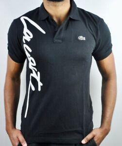 Lacoste slim fit cotton black polo , short sleeve