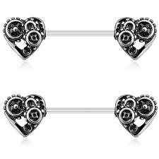 """STEAMPUNK HEART GEARS NIPPLE PIERCING BARBELLS RINGS 14g 9/16"""" (Sold in Pairs)"""