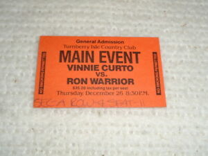 Vinnie Curto vs. Ron Warrior 1985 Turnberry Isle Club Miami Boxing Ticket Stub