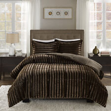 Deluxe Soft Sheared Brown Grey Black Faux Mink Fur Comforter Cal King Queen Set