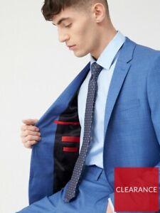 Hugo Boss Harvey Slim Linen Jacket Blazer Light Blue Virgin Wool Size 48 RRP 270
