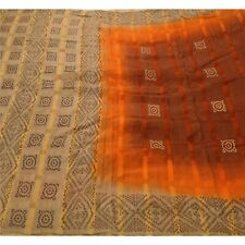 Tcw  Vintage Sarees Pure Silk Painted Brown Craft Decor Soft Fabric Sari