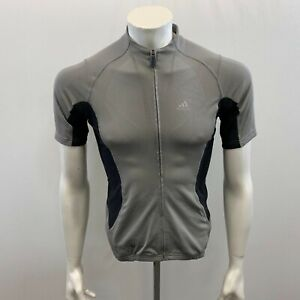 Adidas Men's Grey Fitted Racing Cycling Short Sleeve Full Zip Jerzy Size Small