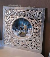 Spiegel Wandspiegel Flurspiegel Ornament weiß Silber 58cm Shabby Vintage