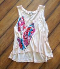 I LOVE H81 ~ Large ~ Boho Feastival! WATERCOLOR FEATHERS High-LOw Cropped Tank