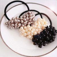 Fashion Women Crystal Rhinestone Pearl Hair Band Rope Elastic Ponytail Holder